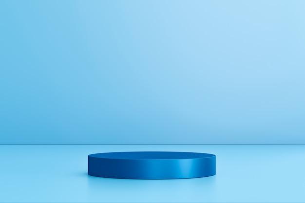 Leere produktanzeige auf blauem studiohintergrund mit sockel oder podium.