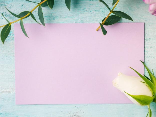 Leere purpurrote karte blüht tulpenrosen-frühlingspastellfarbe. osterferien, hochzeit geburtstagseinladung
