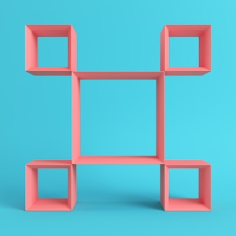 Leere quadratische regale auf hellblauem hintergrund