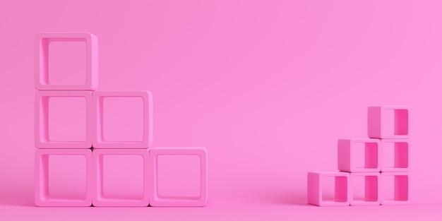 Leere quadratische regale auf hellrosa hintergrund in
