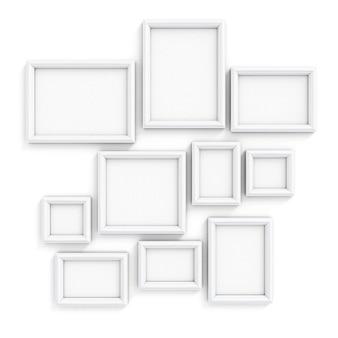 Leere rahmen der verschiedenen größe für bilder und fotos auf einer wand 3d illustration