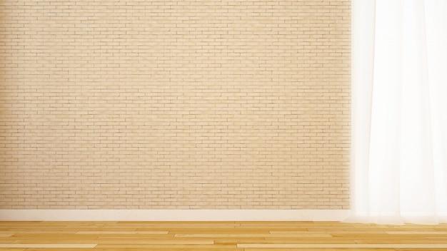 Leere raumbacksteinmauerdekoration im haus oder in der wohnung