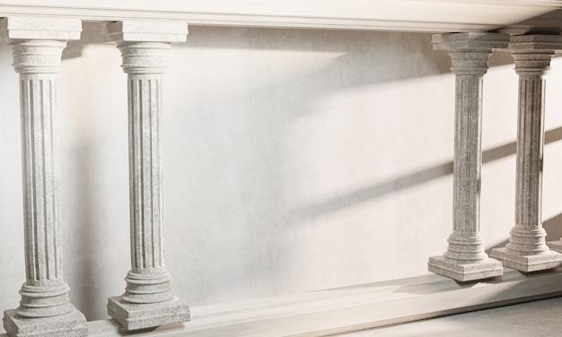 Leere raumwand klassische säulensäule kolonade klassische architektur banner realistisches 3d-rendering