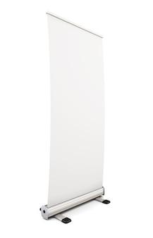 Leere roll-up-banner-anzeige isoliert auf weiß. 3d-illustration.