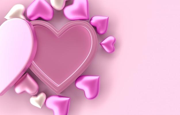 Leere rosa herz-geschenkbox für produktanzeige. valentinstag hintergrund. rosa hintergrund. 3d-rendering. draufsicht. flach liegen.