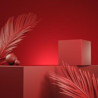 Leere rote plattform für präsentationsprodukt mit palmblatt. 3d-rendering
