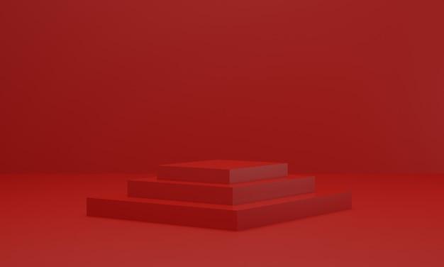 Leere rote plattform zum anzeigen des produkts. podium im roten studiozimmer. 3d rendern