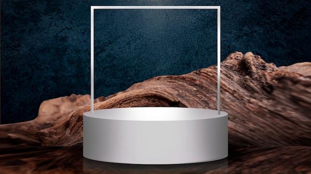 Leere runde szene. leerer raum, weißes podium für thema, präsentation. Premium Fotos