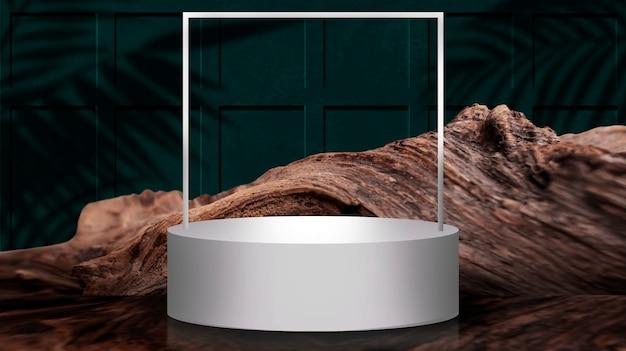 Leere runde szene. leerer raum, weißes podium für thema, präsentation.