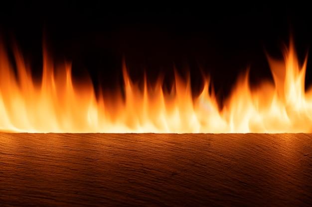Leere schiefertischplatte mit orangefarbenem feuer