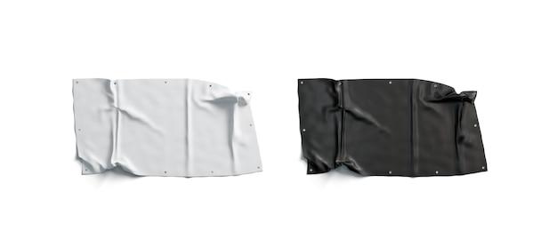 Leere schwarz-weiß gefaltete stretch-banner-set, isoliert,