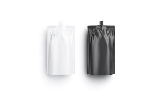 Leere schwarz-weiß-sause-doy-pack, draufsicht