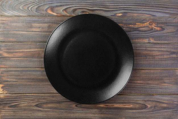 Leere schwarze matte platte