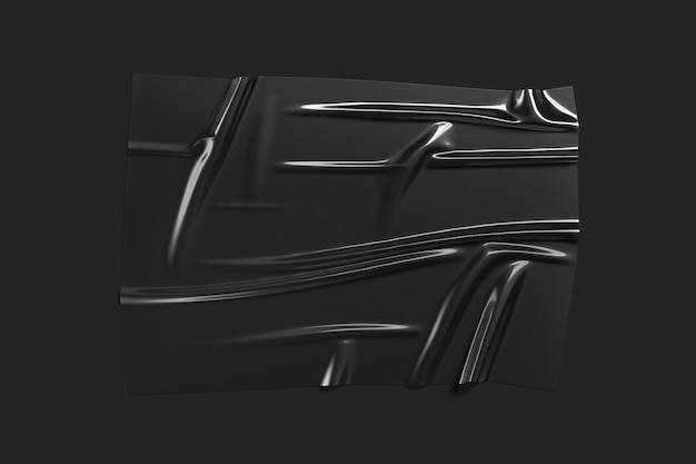 Leere schwarze plastikfolienüberlagerung, dunkler hintergrund, 3d-rendering. leerer holpriger deckblatteffekt. klare träger-polymer-packung für box oder deko.