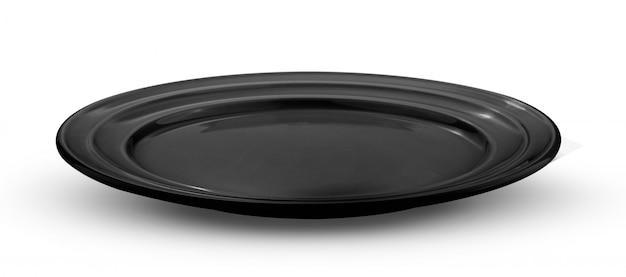 Leere schwarze platte auf weiß
