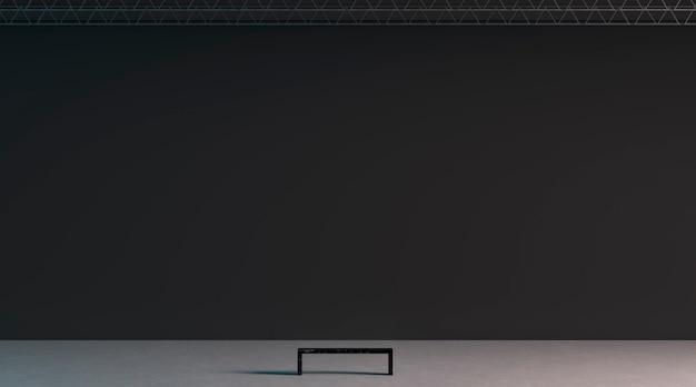 Leere schwarze riesige galeriewand mit bank im museum