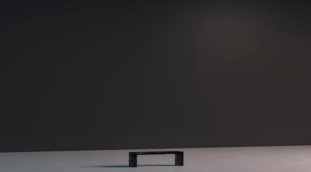 Leere schwarze riesige galeriewand mit bank im museumsmodell