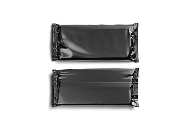 Leere schwarze schokoriegelfolienverpackung, vorder- und rückseite, 3d-rendering. leere rechteckige kakaoschokoladenverpackung, isoliert, draufsicht. klar verpackt für einen süßen snack.