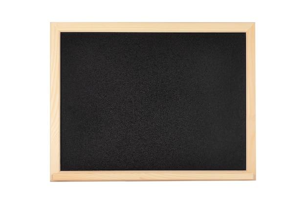 Leere schwarze schul- oder restauranttafel mit holzrahmen auf weißem hintergrund