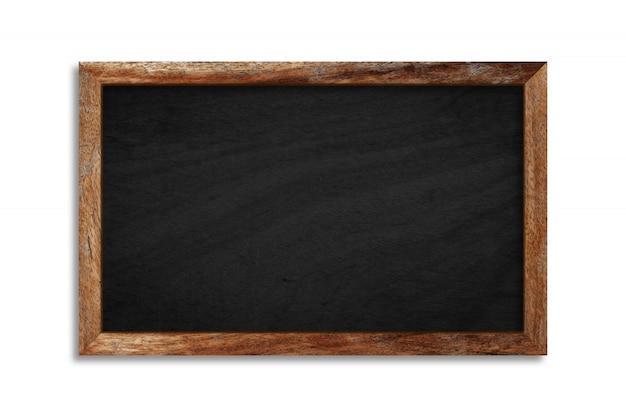 Leere schwarze tafel mit holzrahmen