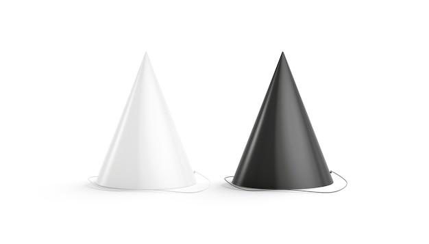Leere schwarze und weiße partyhut-set, isoliert, 3d-rendering.