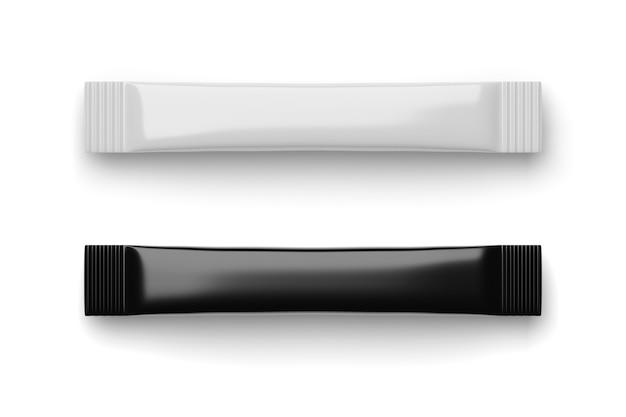Leere schwarze und weiße zuckerstick-beutelpackungen isoliert auf weißem hintergrund. 3d-rendering.