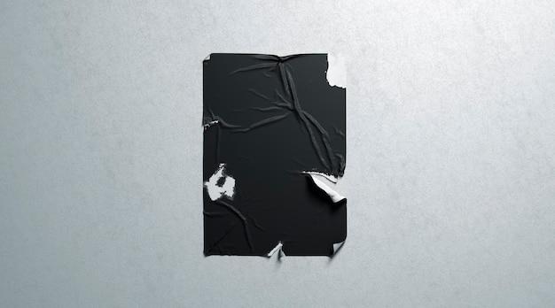 Leere schwarze weizenpastenkleber zerrissene weiße strukturierte wand des plakats