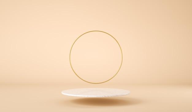 Leere schwimmende plattform zur produktpräsentation mit goldenem ring render