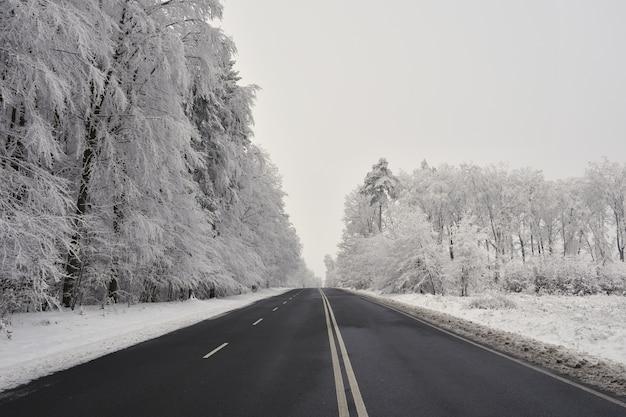 Leere straße mit schneebedeckten landschaft. schöne winter saisonalen hintergrund für transport und autos.