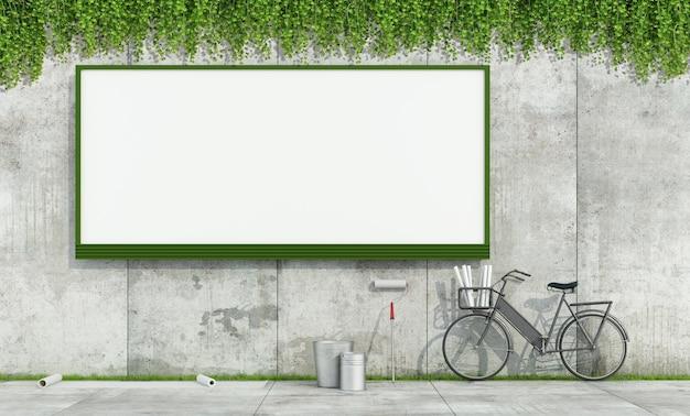Leere straßenwerbetafel auf grunge-betonwand und werkzeuge zum anbringen von plakaten. 3d-rendering