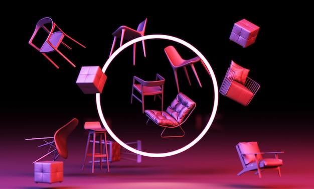 Leere stühle mit kreisförmiger weißer led und lila beleuchtung an der schwarzen wand. konzept von minimalismus & installationskunst. 3d-rendering-modell