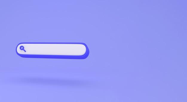 Leere suchleiste auf minimalem konzept des blauen hintergrunds.