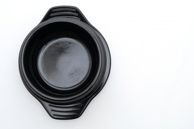 Leere suppe schwarze schüssel (tontopf) im koreanischen stil
