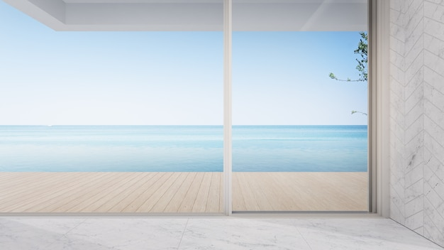 Leere terrasse in der nähe des wohnzimmers in einem modernen strandhaus oder einer luxuspoolvilla