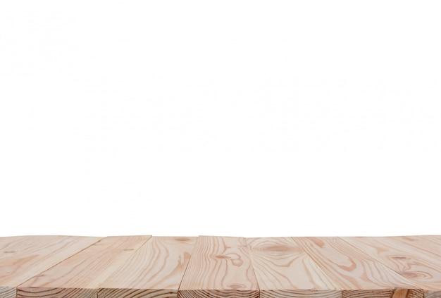 Leere tischplatte des hölzernen brettes lokalisiert auf weißem hintergrund mit beschneidungspfad und copyspace für anzeige oder montieren ihre produkte