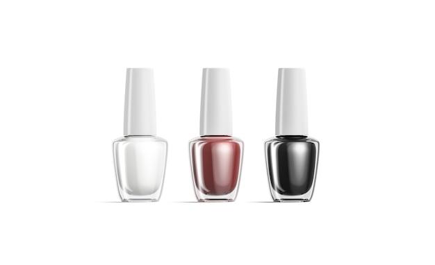 Leere transparente flasche mit schwarzem, weißem und rotem nagellack