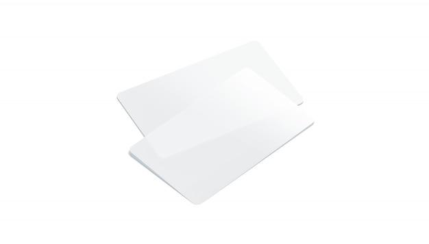 Leere transparente visitenkarten aus kunststoff isoliert