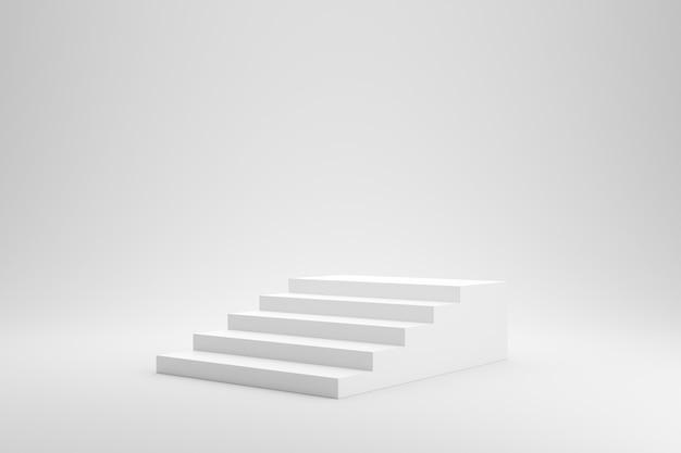 Leere treppe oder treppe auf weißem studiohintergrund mit erfolgskonzept. 3d-rendering.