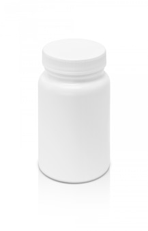 Leere verpackungsergänzungsproduktflasche lokalisiert auf weißem hintergrund