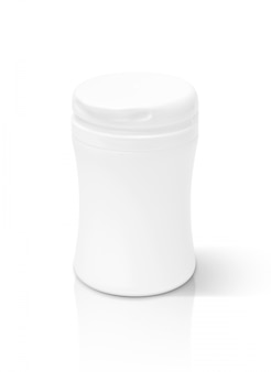 Leere verpackungsergänzungsproduktflasche lokalisiert