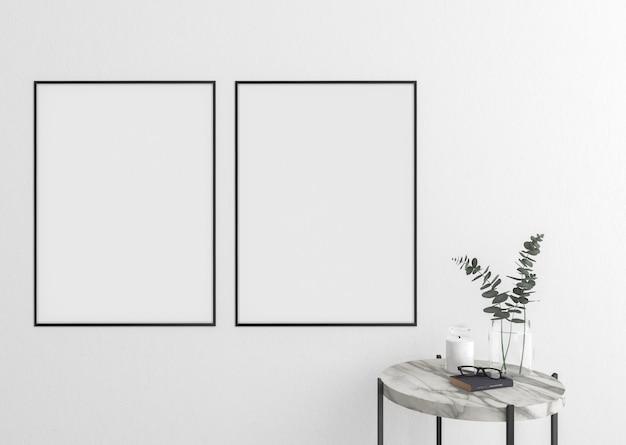 Leere vertikale rahmen auf weißer wand, grafikanzeige, rahmen