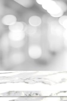 Leere vertikale weiße tischplatte, theke, schreibtisch über unschärfeperspektivenspeicher mit bokeh hellem hintergrund