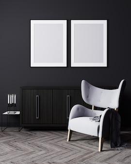 Leere vertikale zwei plakatrahmen verspotten im dunklen modernen innenraum