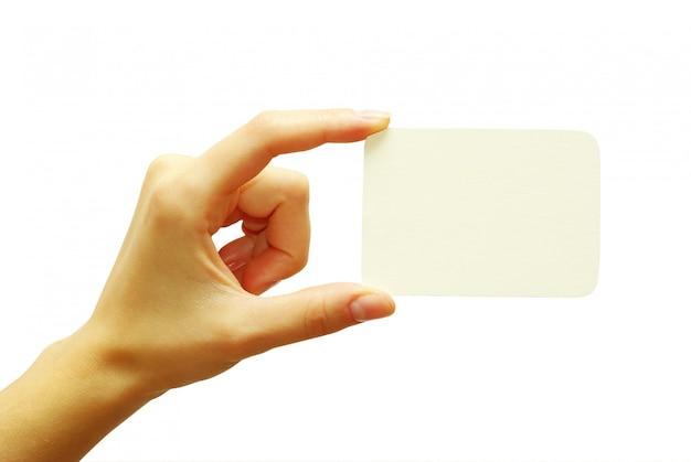 Leere visitenkarte in der hand