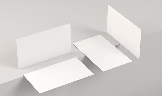 Leere visitenkarten für unternehmenskopien aus verschiedenen blickwinkeln