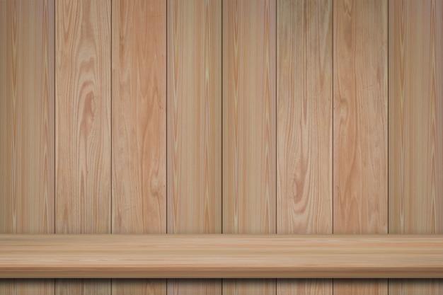 Leere vorderansicht des bücherregals auf hölzernem wandhintergrund mit kopienraum für annoncieren produktanzeige oder designfahnennetz.