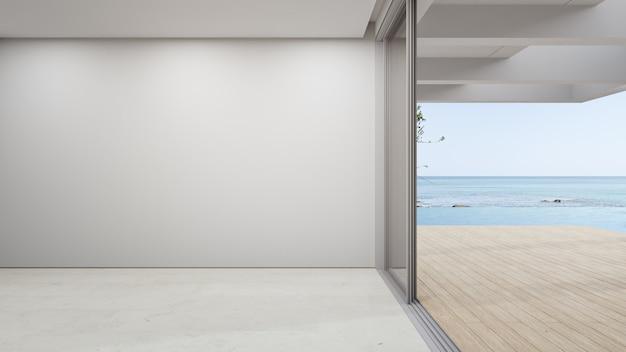Leere wand auf leerem beigem marmorboden des großen wohnzimmers.