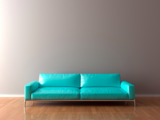 Leere wand im leeren raum mit sofa, 3d-illustration