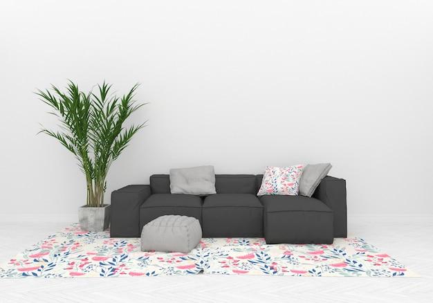 Leere wand im skandinavischen wohnzimmergrafikmodell