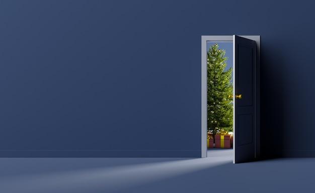 Leere wand mit offener tür und weihnachtsbaum hinten